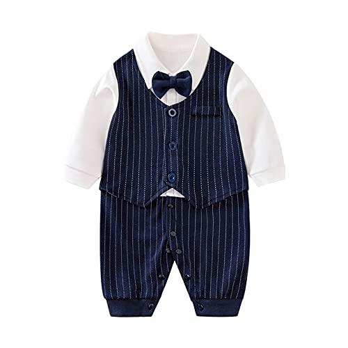 Psafagsa Baby Jungen Anzüge Säuglinge Gentleman Hochzeit Taufe festlicher Smoking Babybkleidung mit Fliege Navy 6-9 Monate