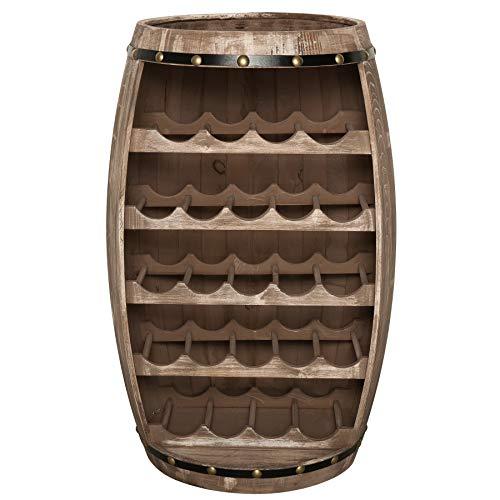 Massives Weinregal Bodega 80cm Natur Weinfass aus Holz Tisch Shabby Chic Fass Stehtisch Bartisch