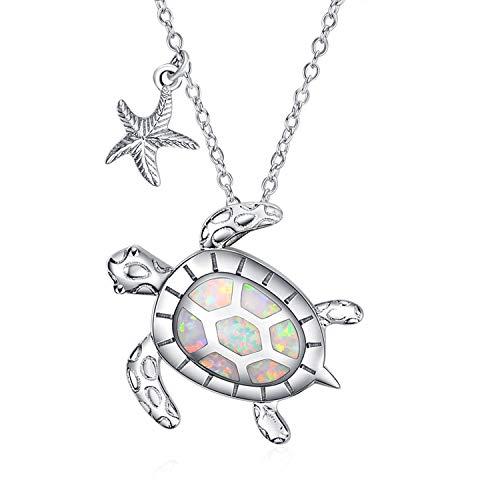WINNICACA Collana di tartaruga marina Argento sterling Ciondolo di stelle marine Compleanno di ottobre creato Regali Opal Ocean Jewellery per le donne Adolescenti Compleanno [Salute e longevità]