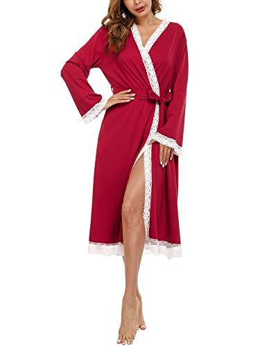 Doaraha Nachthemd Damen Morgenmantel Bademantel Sexy Lange Spitze, mit Gürtel Langarm V-Ausschnitt Sexy Nachtwäsche für Frauen Rot XXL