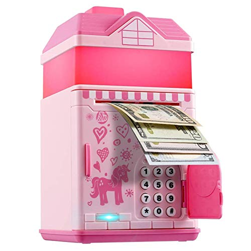 Piggy Bank for Girls, Electronic Money Coin Code Bank with LED Night Light and 10 Music, Pink Safe...