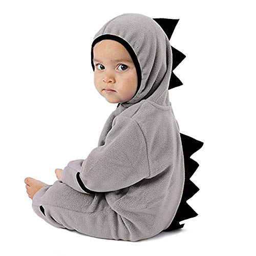 Affordable Baby Dinosaur Hoodie Romper, Fleece Bodysuit for Newborn to 2T Infant Pajamas Winter Oute...