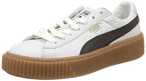 PUMA Basket Platform Perf Gum, Zapatillas para Mujer, Blanco White-Black-Gold, 39 EU