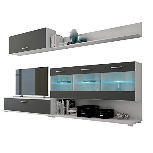 HomeSouth - Mueble de Comedor, modulo Salon Vitrina con Led, Modelo Zafiro, Acabado Color Blanco y Grafito, Medidas: 250 cm (Ancho) x 39,6 cm (Fondo)