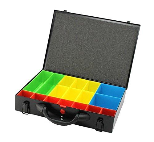 Djm Direct Cassetta in metallo per attrezzi con organizer per viti, cassetta con scompartimenti, colore nero