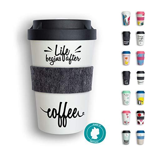 heybico Coffee to go Becher Made in Germany mit Filz-Manschette | Frei von Melamin & ohne Bambusfasern | Biologisch abbaubar & kompostierbar (After Coffee)