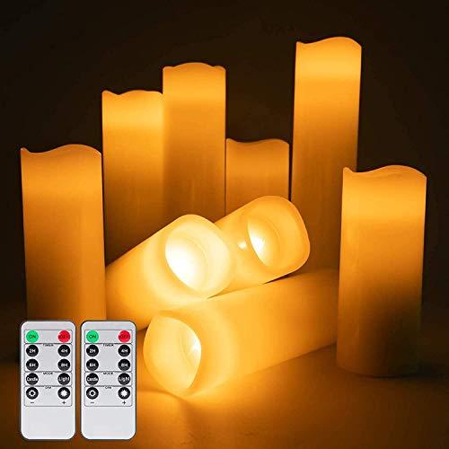 Operado velas sin llama de batería, batería Velas Set, cera verdadera Pilar LED velas encendidas con control remoto y temporizador for el banquete de boda de la cena de Navidad Decoración, luz neutra