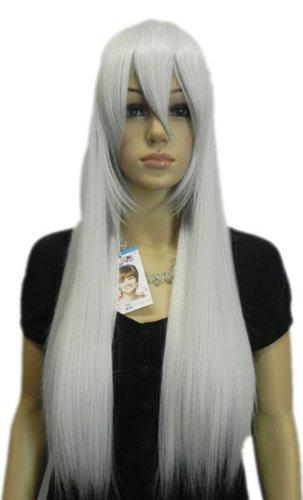 Qiyun Gris Argent Longue Raide Cosplay Costume Synthetique Cheveux Complete Perruque
