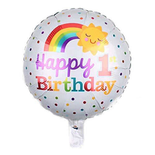 DIWULI, Geburtstags Luftballon Happy Birthday, Folien-Luftballon zum ersten Geburtstag, Geburtstagsballon, bunter Folien-Ballon für Kindergeburtstag, 1. Geburtstag, Party, Dekoration, Geschenk-Deko