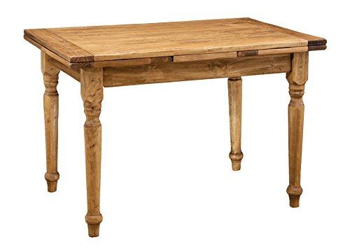 Biscottini Table Extensible en Bois Massif de Tilleul – Style Rustique – Structure et Plateau naturels L 120 x P 80 x H 80 cm