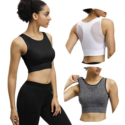 Eunicer 3 Pack Women's Racerback Sports Bras Medium/Low Impact Workout Yoga Sports Bras (3pack) (M)