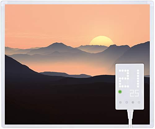 Heidenfeld Infrarotheizung HF-HP105 800 Watt Fotomotiv + Steckdosenthermostat HF-DT100-10 Jahre Garantie - Deutsche Qualitätsmarke - TÜV GS - Für 12-19 m² Räume (800 Watt, Sonnenaufgang)