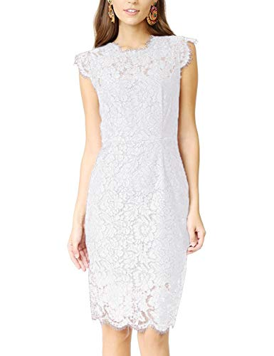 Womens Sleeveless Lace Floral Elegant Cocktail Dress Crew Neck Knee Length for Party, White, MEDIUM