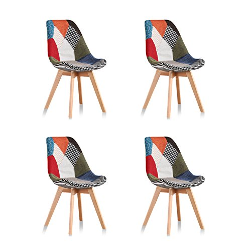 Designetsamaison Lot de 4 chaises scandinaves Patchwork - Prague