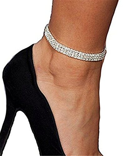 Yinew 3 Rows Crystal Stretch Anklet Bridal Princess Rhinestone Ankle Jewelry