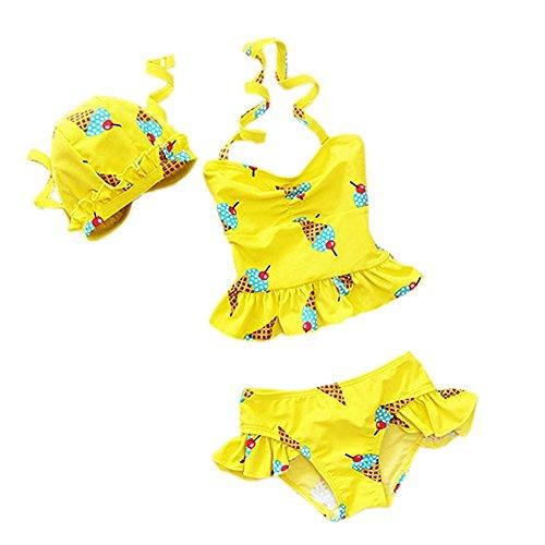 Collager Baby Girls Toddler Kids Ice Cream Skirt 3 Pcs Bikini Swimsuits Swimwear, Yellow, 5-6 Years