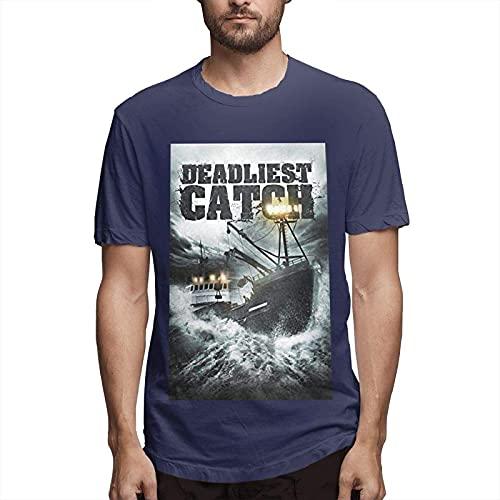 男性用ベーリング海の一攫千金Tシャツ半袖Tシャツファッショングローバリゼーション-ネイビー-ミディアム