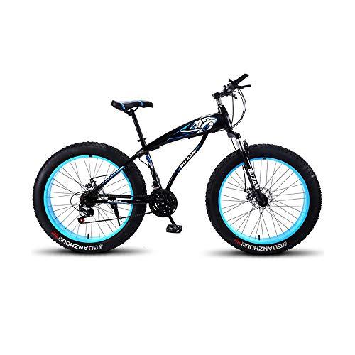 GYZLZZB Colored Rim Cross-Country Beach Snowmobile 26' Mountain Bikes,7 Speed Bicycle,Adult Fat Tire Mountain Trail Bike,Aluminium Alloy Frame Dual Full Suspension Dual Disc Brake(Black and Blue)