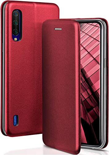 OneFlow Funda Libro + Cierre magnético Compatible con Xiaomi Mi 9 Lite | Piel sintética, Rouge Vin