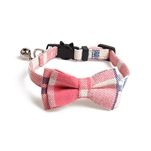 Egurs Hund Katzenhalsband mit Fliege, klassisches Karomuster Verstellbares Hundehalsband mit Glocke für Welpen, kleine Hunde und Katzen