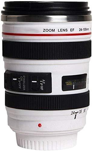 Trinkbecher - Kameraobjektiv Kaffeebecher, Kamera-objektiv-Kaffeetassen mit Deckel, Objektiv Tasse Edelstahl Becher, Kameratasse für Fotografen Videographen (Weiß 320ml)