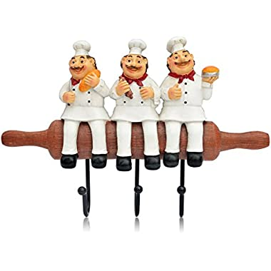 KiaoTime Cute Home Kitchen Restaurant Bakery Decorative Chef with Bread figurine Wall Hooks Oven Gloves/Hat/Cap/Coat/Apron Wall Mount Rack Hook Hanger (Three Chefs with Bread)