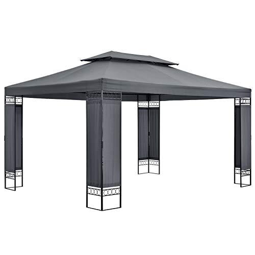 ArtLife Gartenzelt Capri 3 x 4 m in grau – Outdoor Pavillon wasserabweisend – für Garten-Feste und Feiern – aus stabilem Metall und Polyester
