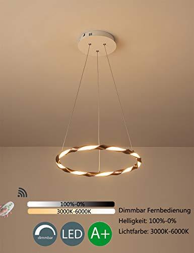 Suspension LED Moderne Rond 1 Anneau Design Lumière Suspension Décoration Lampe Salon Salle À Manger Chambre Appartement Éclairage Aluminium Kieselgel Abat-Jour Marron Dimmable