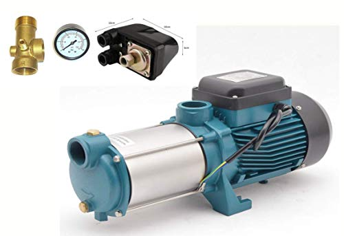 IBO / CHM Gartenpumpe Kreiselpumpe MHI2200 INOX + Druckschalter mit Manometer - Leistung: 2200W - Spannung: 230 V / 50 Hz 10800 L/h - 180l/min. Max. Druck 6 bar. Laufräder aus Edelstahl.