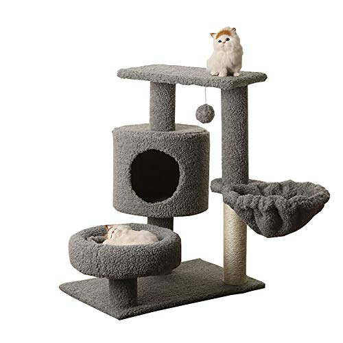 ZXCVASDF Cat Tree, Cat Tower with Scratching Posts, Grey Multi-Level Cat Condo,Cat House Furniture with Jump Platform,Activity Tree Center with Funny Toys
