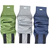 Paw Legend Washable Dog Belly Wrap Diapers for Male Dog (3 Pack,Army,Grey,Navy,Medium)