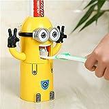 juntao Dibujos animados para niños con forma automática de pasta de dientes, soporte para cepillo de dientes, tipo de adsorción, a prueba de polvo, juego de tazas de enjuague bucal (color : ojos)