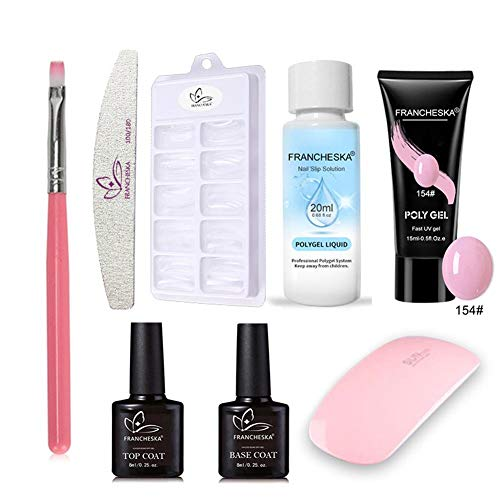 Poly Gel Kit Para Uñas, Gel Extensiones De Uñas Kit Poly Builder UV Gel Set Poly Extension Gel Kit Finger Nail Extension Art Tools Set Con Solución De Limpieza
