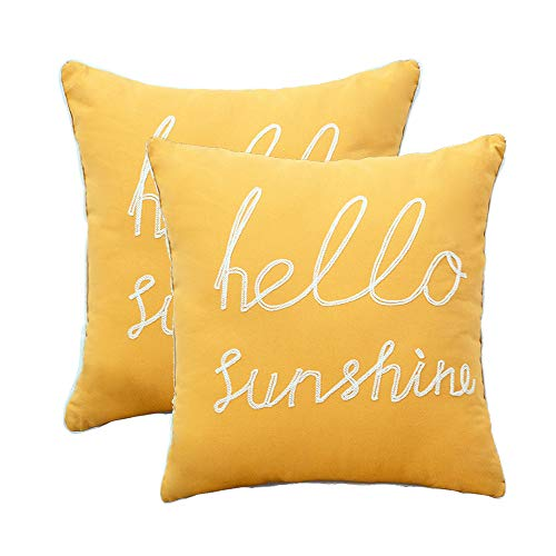 YIcabinet Set of 2 Soft Soild Decorative Square Throw Pillow Covers Yellow Hello Sunshine Pillow for Sofa Bedroom Car 20x20 Inch