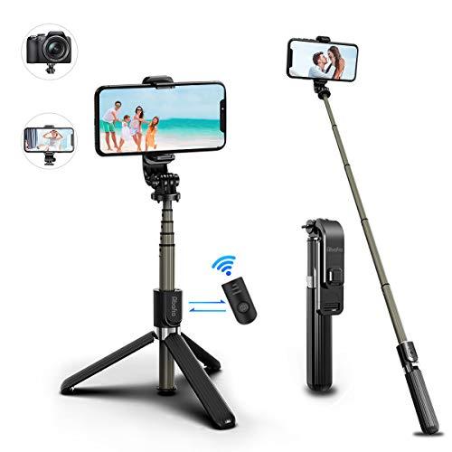 Abafia Bastone Selfie, Supporto Smartphone con Bluetooth Remote Shutter (Estensibile), Treppiedi Cellulare per iPhone/Galaxy/Honor/Redmi/Nova/Xperia/Action Camera/Altri (3 in 1 Mini Selfie Stick)