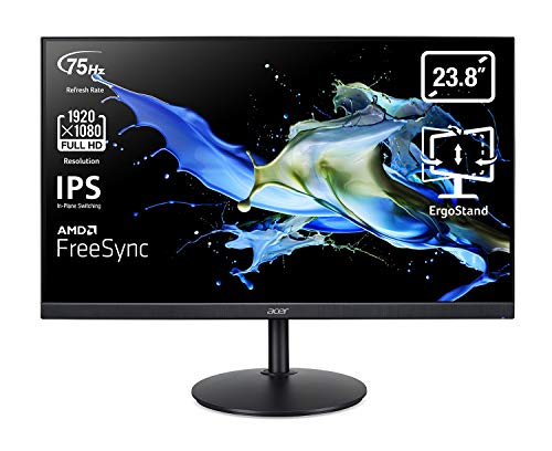 Acer CB242Y Monitor 23,8 Zoll (60 cm Bildschirm) Full HD, 75Hz HDMI/DP, 60Hz VGA, 1ms (VRB), HDMI 1.4, DP 1.2, VGA, höhenverstellbar, drehbar, HDMI/DP FreeSync