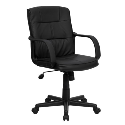 Flash Furniture Mid-Back Black LeatherSoft Swivel Task Office Chair with Arms