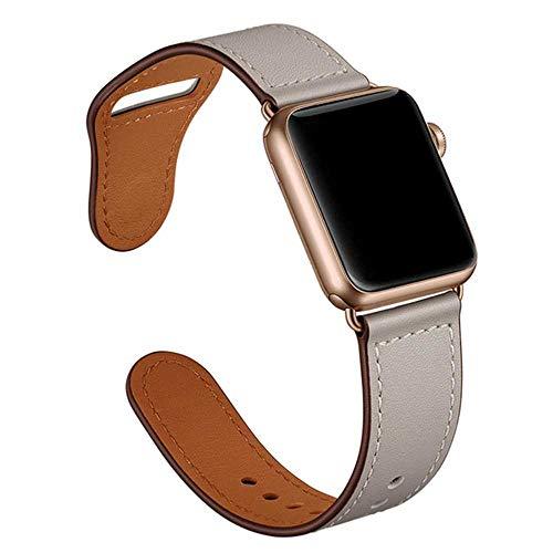 Langy leren armband bruin voor Apple Watch, 5 4 3 2 1 38 mm 40 mm, leren riem voor heren, 42mm or 44mm, Ivoor Wit