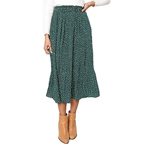 Exlura Womens High Waist Polka Dot Pleated Skirt Midi Swing Skirt with Pockets Green X-Large