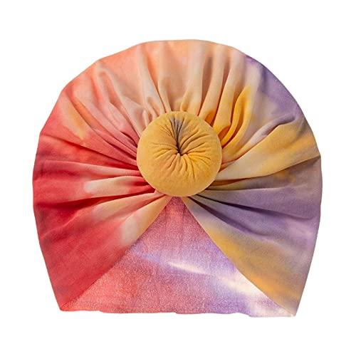 Headwrap Pre Atado del Teñido Anudado De Los Niños, Turbante del Paño De Algodón del Bebé, Sombrero Hecho Punto del Niño