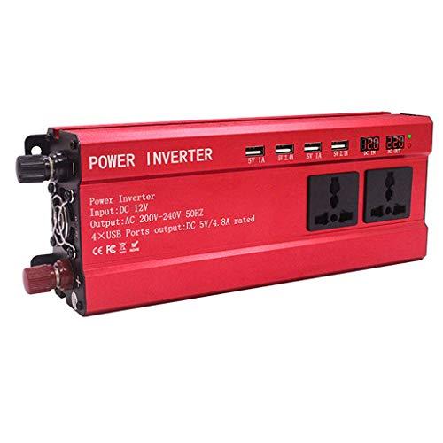 GXFC 900 W omvormer, DC 12 V/24 V naar 220 V AC spanningsomvormer, 4 USB-auto-adapters en 2 stopcontacten, LED-display, camper, vrachtwagen en personenauto