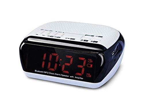 Lhl altavoz de audio, altavoz inalámbrico Bluetooth, mini reloj portátil alarma altavoz de computadora, impermeable, a prueba de polvo, blanco