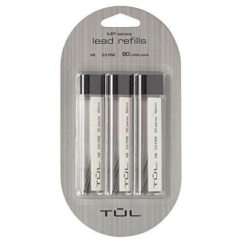 TUL Lead Refills, 0.5 mm, HB Hardness, 30 Leads Per Tube, Pack of 3 Tubes