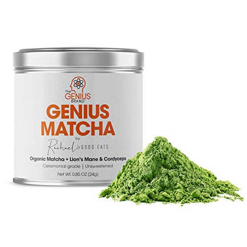 Genius Matcha Green Tea Powder - Organic Ceremonial Grade Matcha Mix w/ lions mane & cordyceps mushroom extract for energy and focus boost. Unsweetened Authentic Japanese Origin - Culinary Grade by RachaelsGoodEats