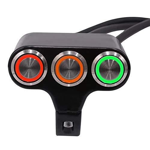 KASILU Jidian48 22 mm Montaje Montaje Interruptores Motocicleta Interruptor Faro Freno Freno Freno Corto On-Off Aleación de Aluminio con indicador DIY Negro Reemplazo