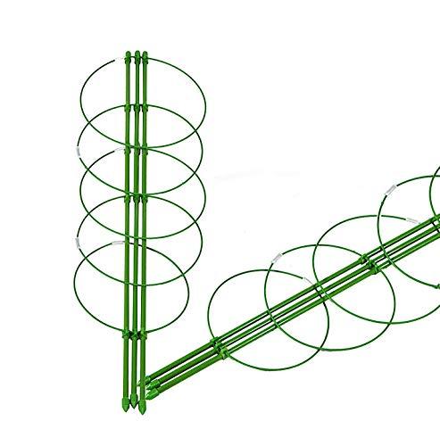 2 X Gartenhelfer für Rank- und Kletterpflanzen, Rankhilfe Kletterhilfe Rankgerüst, Tomaten- und Gemüse-Rankturm 150 cm, grün Pflanzenhalter, Staudenhalter, 5 Ringe, Garten, Rankhilfe höhenverstellbar