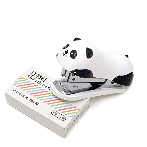 Honbay Portable Mini Cute Panda Desktop Stapler Set with 1000PCS No.10 Staples for Office School Home or Travel Use