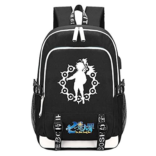 Mochila masculina Seven Deadly Sins de manga Meliodas Dayback para meninos Sete Deadly Sins Bag para laptop USB Bolsa de viagem Anime, 33, One Size