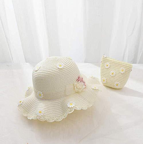 Sombrero de Paja Sombrero de Playa para niña Sombrero de panamá Pamela de Paja para niña en Verano el Mismo patrón en la Bolsa