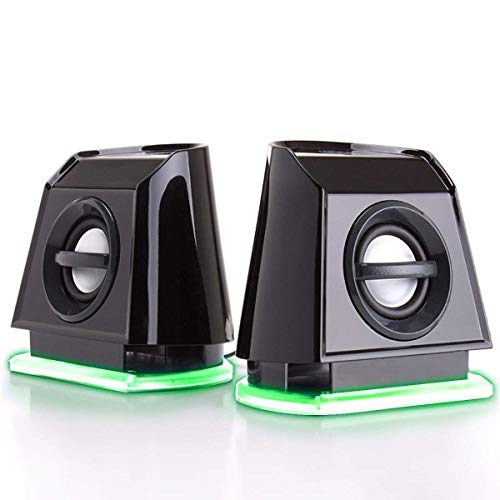 Best Buy! GOgroove 2MX LED Computer Speakers with Passive Subwoofer , Blue Glowing Lights and Volume...